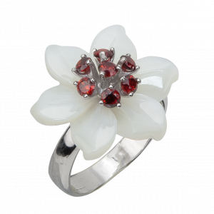 925 Sterling Silver women's rings with garnet and sapphire